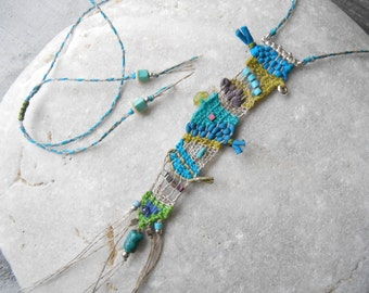 Sea colors - Hand woven mini Tapestry Necklace - Linen, Silk & Silver with Turquoise and Hematite - freeform weaving - fiber art jewelry