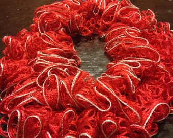 Red Infinity Ruffle Scarf with Silver Edging