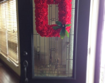 THE Official OSU Block O Wreath with over 100 red silk carnations, real Ohio buckeyes and silk buckeye leaves