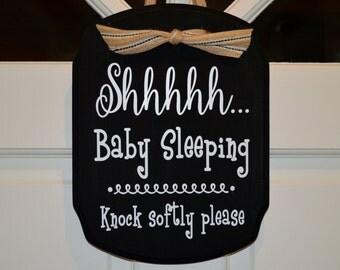 Baby Sleeping Door Sign, Baby Sleeping Sign, No Soliciting, Vinyl Sign, Door Sign, Do Not Disturb Sign