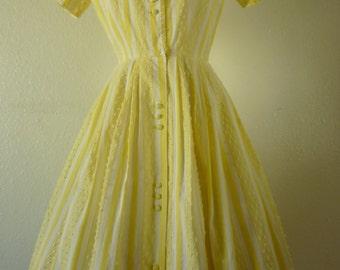 1950's Sunshine Yellow Striped Summer Dress. Bust 36-38 inch