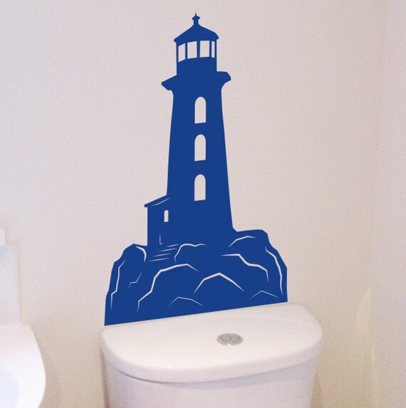 lighthouse wall sticker wall art seaside themed decoration lighthouse vinyl wall decal set large lighthouse by walljems
