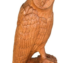 Owl Wood carving, Handmade Woodcarving, 11,8 x 4,7 x 3,9 in.