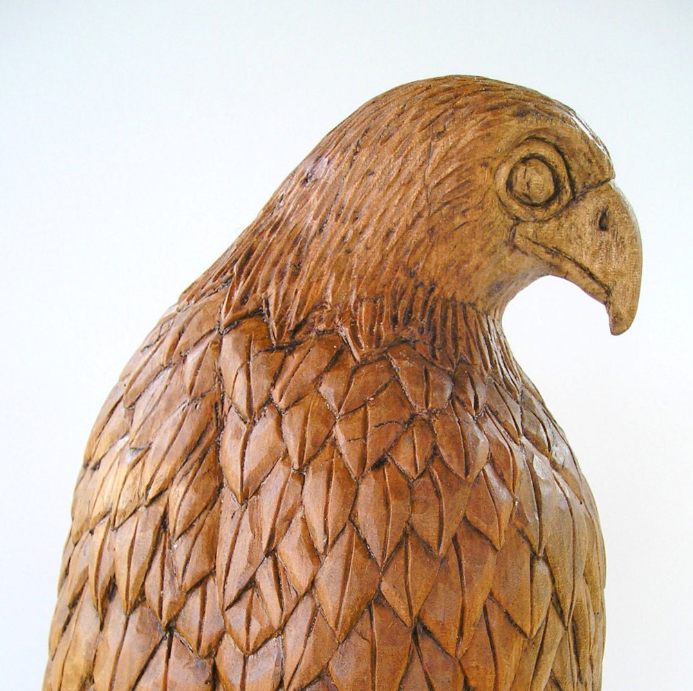 Falcon wood carving handmade woodcarving