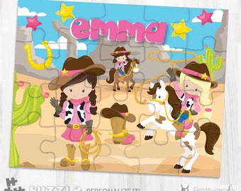 SALE Cowgirl personalized puzzle, 20 pieces puzzle, name puzzle, Personalized name puzzle, Kids Personalized Gift - PU105