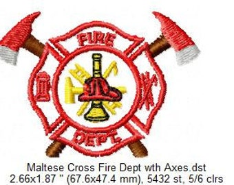 INSTANT DOWNLOAD: Fire Department Maltese Cross Embroidery Files