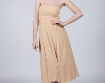 Champagne Strapless Short Bridesmaid/Prom Dress by Matchimony