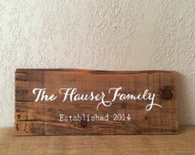 Reclaimed Wood Sign | Personalized Last Name & Wedding Year | Gallery Wall Decor | Family Name Décor