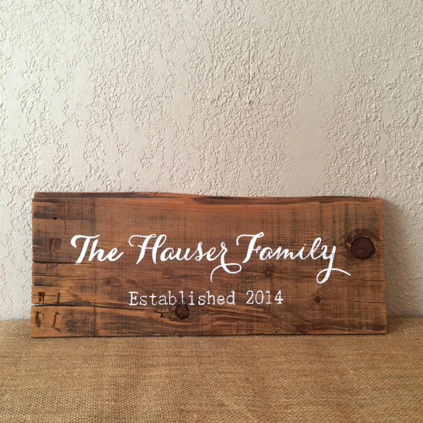 Reclaimed Wood Signs: Reclaimed Barn Wood Sign Personalized Last Name & By