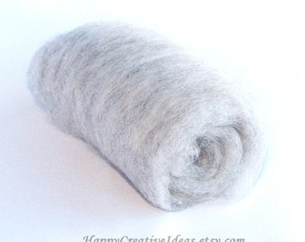 Light gray carded wool roving for felting spinning stuffing crafts DIY, natural sheep wool, soft and easy to use