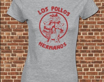 Los POLLOS HERMANOS women's junior fit T-Shirt all sizes available funny breaking walter white heisenberg bad vintage throwback tee UG309