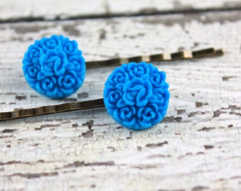 Rose Bobby Pins - Blue Roses - Victorian Bobby Pins - Vintage Look Bobby Pins - Bouquet Bobby Pins - Blue Bobby Pins - Flower Bobby Pins