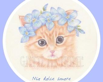 Mio dolce amore - Illustrazione - Ritratto di gatto