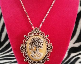 Victorian Cameo Skull Necklace