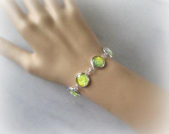 Green Flower Bracelet, Glass Cabochon Bracelet, Lime Green, Yellow, White, Silver, Apple Green