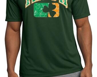 St Patrick's Day Shirt Distressed Irish Shamrock Men's Moisture Wicking Tee T-Shirt-A11368C-ST350