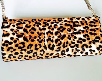 Black and Brown Leopard Clutch
