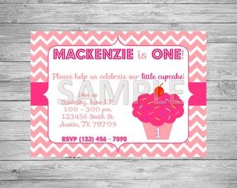 Cupcake Birthday Party Invitation, Cupcake Birthday Party, Printable Cupcake Invitation, Pink Cupcake Invitation, Little Cupcake Invitation