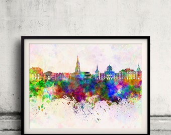 Toulouse skyline in watercolor background 8x10 in to 12x16 Poster Digital Wall art Illustration Print Art Decorative  - SKU 0149