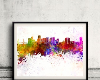 Portland skyline in watercolor background 8x10 in to 12x16 Poster Digital Wall art Illustration Print Art Decorative  - SKU 0162