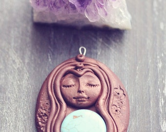 Awareness Spirit - Reiki charged polymer clay necklace pendant