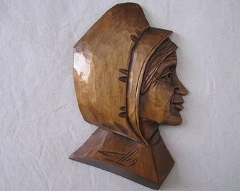 ROBERT GEOFFROY Sculpture on wood / profile of woman peasant / Suspension wall wooden