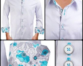 Grey with Teal Paisley Men's Designer Dress Shirt - Made To Order in USA
