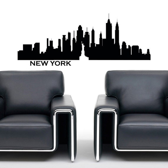 new york skyline wall decal vinyl sticker city by fabwalldecals. Black Bedroom Furniture Sets. Home Design Ideas