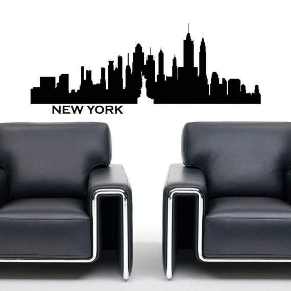 New york skyline wall decal vinyl sticker city by for Sticker mural new york