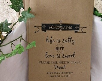Wedding Popcorn Bar Bags - Popcorn Bags - Popcorn Bar - Rustic Wedding - country wedding BUFFET-031