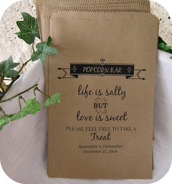 Personalized Popcorn Bags Wedding