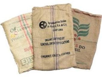 Lot of 4 (four) Used Coffee Bean Burlap Bags // Burlap Coffee Jute Bags // Coffee bean sack // organic recycling //