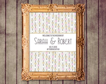 Floating Hearts Pink Gold Ivory Customized Wedding Welcome Sign