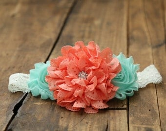 Bright coral and teal baby headband, Baby girl headband, Newborn headband, Spring headband, Teal Headband, Coral headband, Peach headband