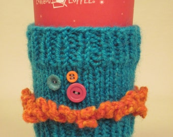 Coffee Cozy Knitted Turquoise