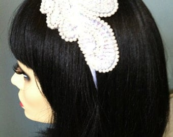 White and pink bead and sequence headband