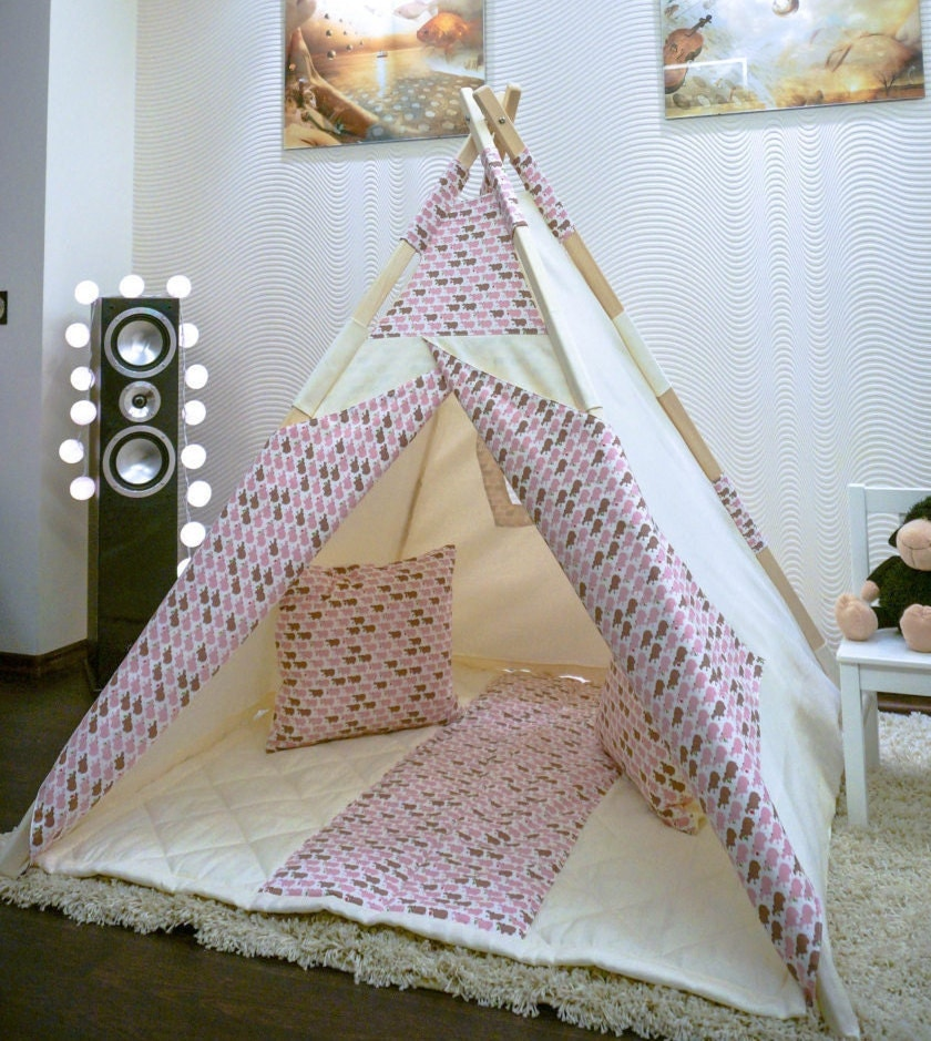 Kids Teepee Tent Baby Play House Pink Hippo With By Mikiteepee
