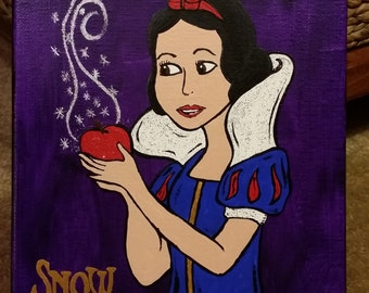 CLEARANCE! Inspired by Disney's Snow White and the Poisoned Apple Hand-Painted 8 X 10 Canvas featuring Sparkle Accents Disney