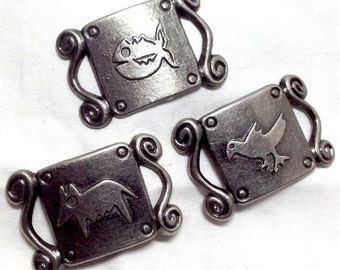 Bird Fish Dog Animal Curved Metal Embellishments - Three Abstract Designs - Southwestern Supplies Jewelry Belt Necklace Findings