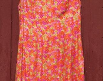 Amazing Neon Silk 1960s Mini dress