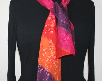 Pink Silk Scarf. Purple Hand Painted Silk Shawl. Orange Hand Dyed Silk Scarf SUNNY WINDS Size 8x54. Birthday, Anniversary Gift. Gift-Wrapped