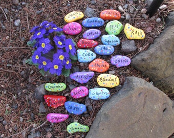 Painted Stone Garden Marker for Vegetables and Herbs in Beds or Pots-Set of 3-Choose from List