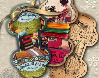 10 Spool Holders - Digital Collage Sheet for Scrapbooking, Tags, Spool Keepers, Jewelry Holders - Printable Digital Downloads CP-234