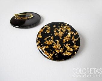 Golden Flakes Black Brooch