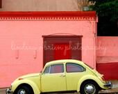 San Francisco Photography: Yellow Wolkswagen Street Print- San Francisco Print, Haight Asbury Print, Haight Asbury Photo, VW Beetle, VW Bug