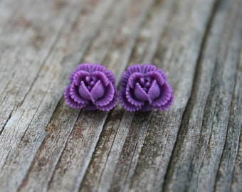 REDUCED Ruffled Rosebud Stud Earrings - Purple
