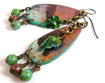 Hippie Leaf Dangle Earrings - Boho Gypsy Nature Rustic - Orange Rust Red Green
