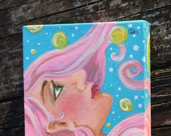 Gaia Girl Woman with pink hair painting. Original 5x5 gallery wrapped canvas.