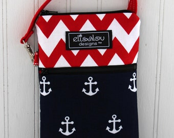 Red Chevron & Anchors Away 2 Pocket Padded Gadget, iPhone6, iPhone 6 Plus, iPod, cellphone, Samsung Galaxy, camera