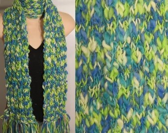 Hand Made Knit Wool Scarf Blue Green chunky